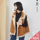 背心 QQ羊羔毛麂皮絨拼接隱藏口袋外搭罩衫-BAi白媽媽【305357】