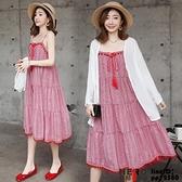 洋裝連身裙孕婦夏裝兩件式民族風刺繡流蘇吊帶連身裙背心裙子防曬衫披肩套裝