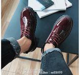 皮鞋馬丁靴男英倫百搭中筒鞋子男防水青少年學生皮鞋 艾莎嚴選