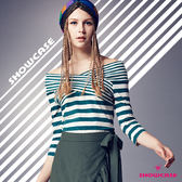 【SHOWCASE】粗細條紋交叉領七分袖上衣(綠)