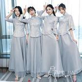 長袖禮服  中式伴娘服女長款姐妹團宴會禮服長袖2018新款春季民國風復古灰色