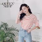 Queen Shop【01038082】彩色配色條紋短T 兩色售*現+預*