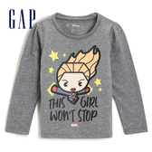 Gap女嬰Gap x Marvel 漫威系列驚奇隊長印花長袖T恤510164-混色粗紡灰