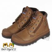 法國 Palladium Waterproof 琥珀棕 皮革兩側拉鍊 防水短童靴 中童靴 NO.R2222