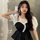 假兩件襯衫女2021年春季新款法式復古收腰拼接泡泡袖短款短袖上衣 伊蘿 618狂歡