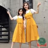 夏裝親子裝韓版百搭套裝母女裝連身裙【聚可爱】