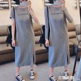 短袖連身裙女2019新款休閒遮肚大碼寬鬆中長款過膝開叉T恤裙子夏『艾麗花園』