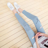 OB嚴選《BA3371-》純色破損造型腰圍鬆緊綴字母印花彈力貼身長褲.2色