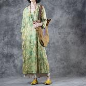 顯瘦V領盤扣裙子亞麻印花大碼洋裝-設計家之絳月