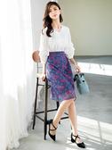 春裝上市[H2O]雙色蕾絲顯瘦膝下鉛筆裙 - 藍/灰/粉色 #0672005