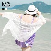 Miss38-(現貨)【A05282】蕾絲開衫 寬鬆喇叭七分袖 大尺碼透膚外套 罩杉 空調衫 防曬衣-大尺碼女裝