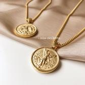 鍍金項鍊 可沾水  鈦鋼鍍金 雙面浮雕 50比索金幣紀念錢幣【快速出貨】