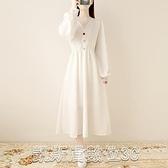 洋裝實拍裙子2021年新款春款裙子仙女超仙森繫法式復古長袖顯瘦連身裙【凱斯盾】