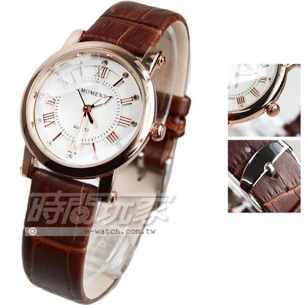 MOMENT舜時 原裝日本機蕊 精密防水時尚腕錶 咖啡x玫瑰金電鍍 女錶 MO8064玫咖小