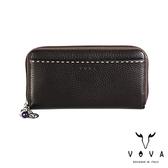 【VOVA】貝拉系列15卡荔枝紋扣式拉鍊長夾(咖啡)VA112W021BR