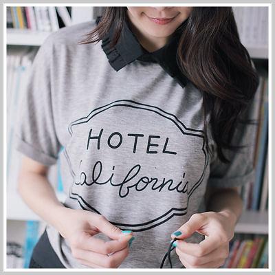 韓國 領口裝飾英文字母短袖T恤【U553】☆雙兒網☆ Sunshine