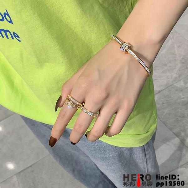 鈦鋼手鐲女不掉色鑲鉆鋯石輕奢高級感網紅個性手鏈手環品牌【邦邦】