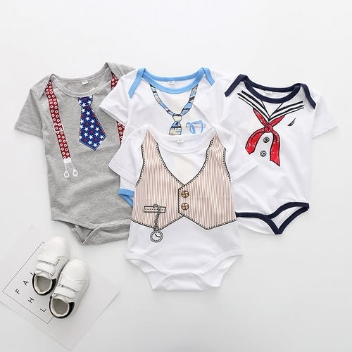 短袖包屁衣 假領帶造型兔裝 寶寶連身裝  春夏童裝 XE2136 好娃娃