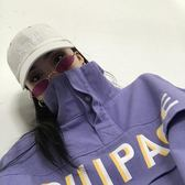 棉麻上衣外套  秋裝女新款韓版寬鬆字母印花立領衛衣外套上衣潮    都市時尚