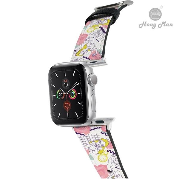 (預購) 迪士尼公主系列 Apple Watch 皮革錶帶 經典愛麗絲 (銀色)