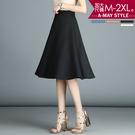 加大碼-高質感及膝傘裙(M-2XL)