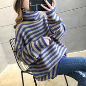 針織毛衣 針織衫~寬松套頭學生針織條紋高領毛衣女加厚MB085-B依品國際