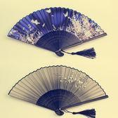 扇子折扇中國風古風女日式小復古布夏季和風跳舞舞蹈摺疊古典古裝 薔薇時尚