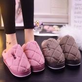 加厚棉拖鞋女室內居家卡通保暖防滑半包跟情侶毛毛拖鞋月子鞋冬季