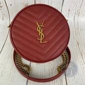 BRAND楓月 Saint Laurent YSL 610436 紅 VINYLE圓餅包 肩背包 側背包 斜背包