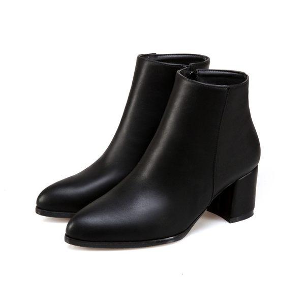 丁果、大尺碼女鞋34-47►氣質尖頭中跟短靴*3色