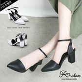 跟鞋.歐美簡約造型踝帶粗跟包鞋-FM時尚美鞋-訂製款.early