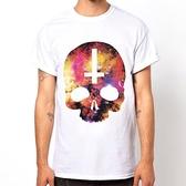 COSMIC SKULL Inverted Cross短袖T恤-白色 滑板街頭刺青設計插畫潮流 390 gildan