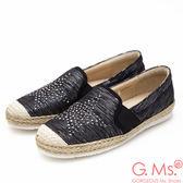 G.Ms. MIT系列-星星貼鑽拼接麻編懶人鞋-黑色