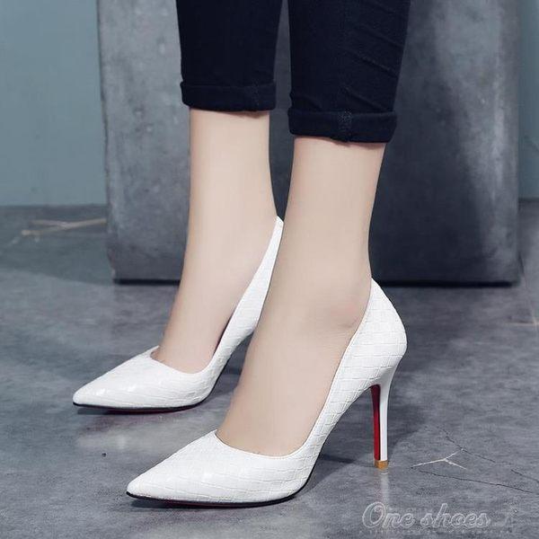 白色少女高跟鞋女細跟冬新款尖頭黑色小清新公主單鞋 艾莎