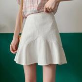 魚尾裙 半身裙女夏季2020年新款高腰包臀裙顯瘦a字裙魚尾裙荷葉邊短裙子 韓國時尚週