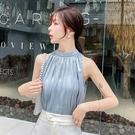 夏季2020新款露肩掛脖無袖心機上衣設計感短袖時尚氣質背心雪紡衫wl13800【黑色妹妹】
