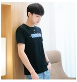 現貨速達 情侶裝 潮T 純棉短袖T恤 MIT台灣製【YC651】短袖 心跳藍長框 團體服 艾咪e舖