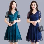 中年人婦女裝媽媽夏季洋裝30-40歲45夏裝短袖中長款夏天裙子50 M-5XL