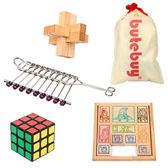 古典益智玩具 孔明鎖 三階魔方 華容道 九連環四件套 成人魯班鎖(全館滿1000元減120)