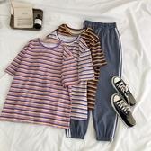 短袖T恤 彩虹條紋女新款韓版寬鬆百搭五分半袖中長款ins潮 - 雙十二交換禮物