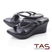 TAS立體雙結繫帶厚底楔型涼鞋-實搭黑