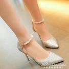 涼鞋女夏季2020新款韓版百搭珍珠一字扣帶尖頭性感細跟高跟鞋單鞋 黛尼時尚精品