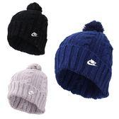 NIKE 女毛球毛帽 (針織帽 保暖 毛線帽 帽子 免運 ≡排汗專家≡