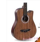 38寸沙比利水曲柳民謠吉他初學木新手初學者練習吉它樂器 DR27006【Rose中大尺碼】