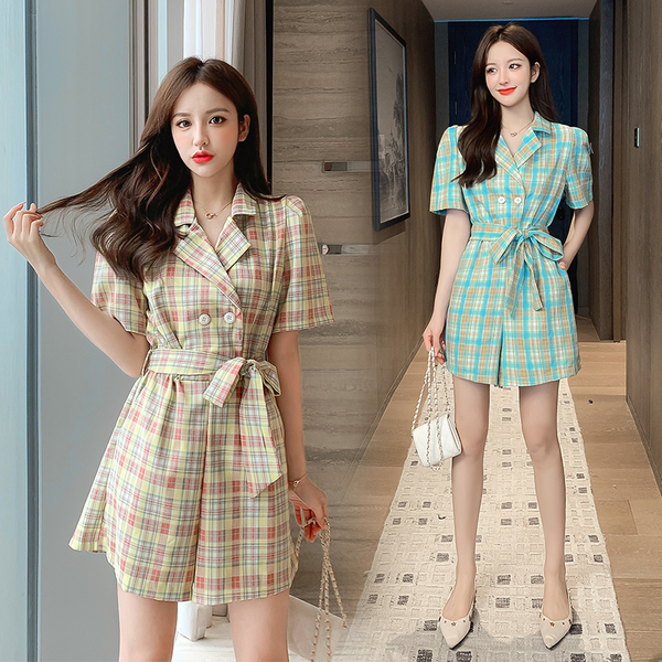 超殺29折 韓國風復古西裝領顯瘦工裝短褲寬口連身褲裝