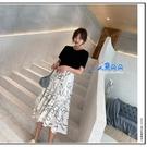 葉子連身裙 黑白潑墨 魚尾裙 蛋糕裙 孕婦連身裙 哺乳洋裝 哺乳衣 連衣裙 米荻創意精品館