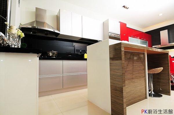 ❤PK廚浴生活館 實體店面❤高雄 廚房歐化系統櫥具 一字型上下櫃流理台 附中島櫃