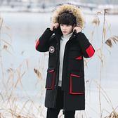羽絨夾克-連帽中長款貉子毛領純色男外套2色73un18【巴黎精品】