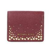 MICHAEL KORS 金LOGO鉚釘綴飾防刮皮革壓釦短夾(暗紅色)618132-2