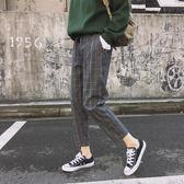 ZUCAS~(FS-6229)原宿風個性撞色格子寬鬆哈倫褲子女 復古韓版顯瘦高腰休閒褲